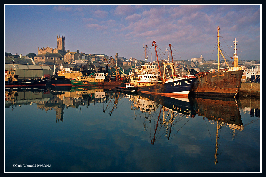 Perfect reflections, Penzance Harbour circa 1998. Cornwall